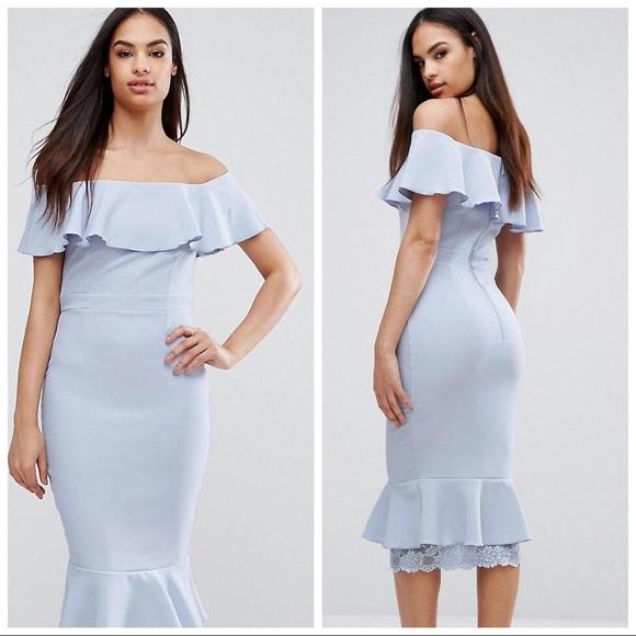 cf19178c1903 ASOS Dresses & Skirts - Sale! Asos Vesper Off Shoulder Frill Pencil Dress